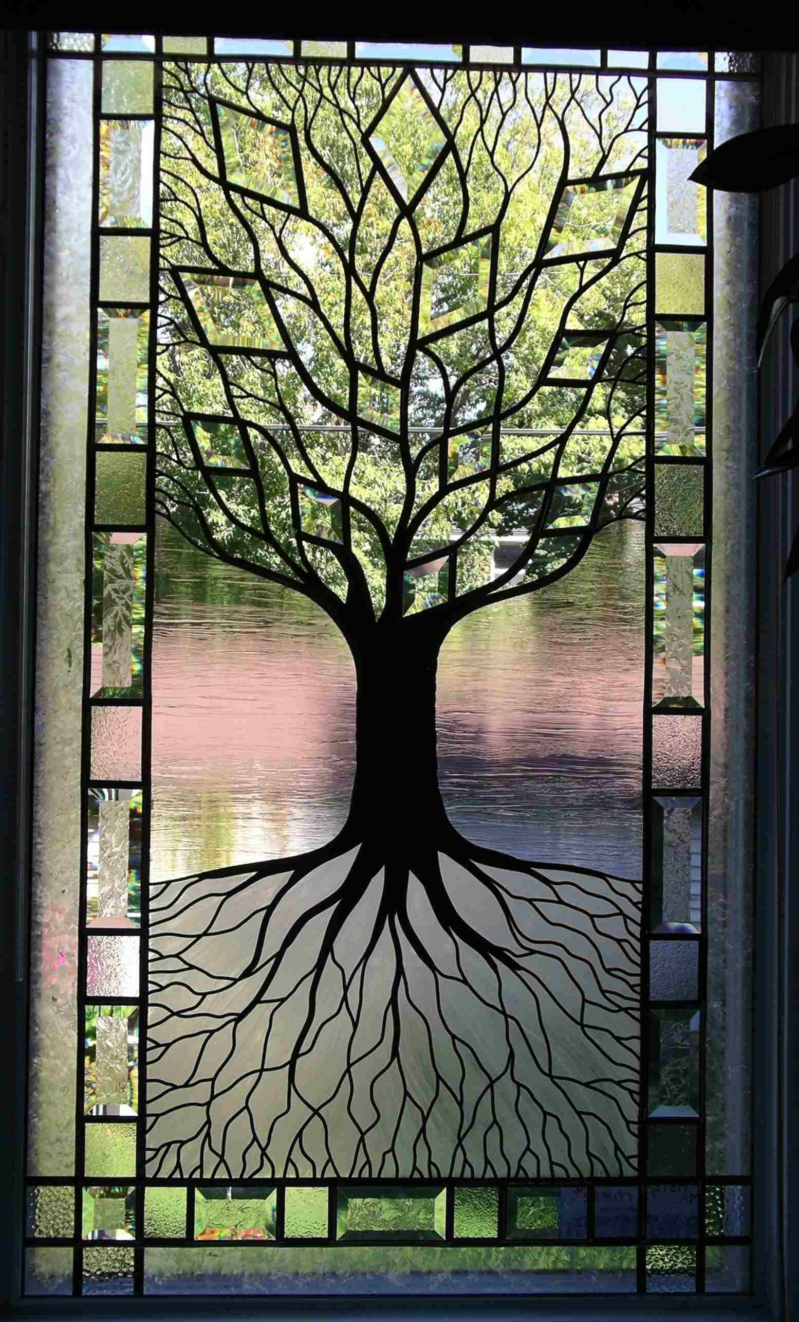 Tree of life stained glass window i think i can do this for Window glass design images