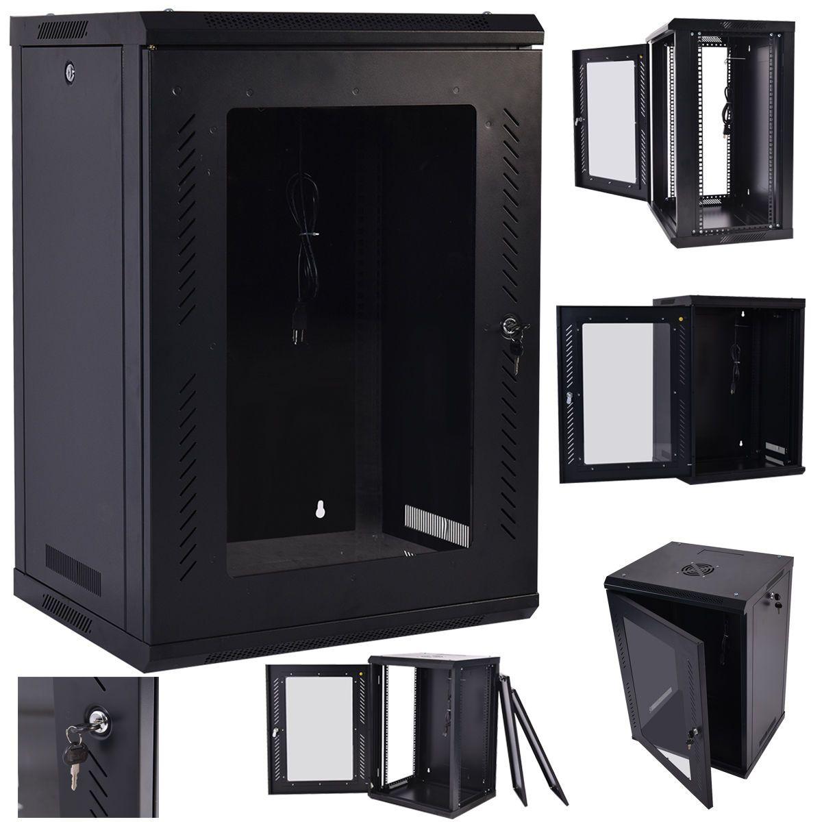 18u Wall Mount Network Server Data Cabinet Enclosure Rack Glass Door Lock W Fan Common Shopping Data Cabinet Update Cabinets Unique Kitchen Backsplash