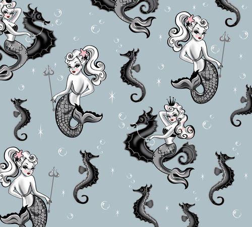 Vintage Tattoo Studio Colorful Print: Lovely Vintage Feeling Mermaid Pattern