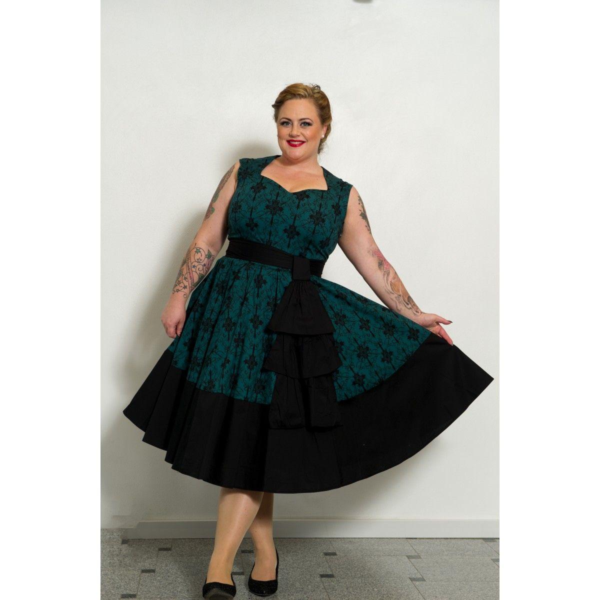 f5f3cca4254b Grøn Vintage kjole med flot mønster