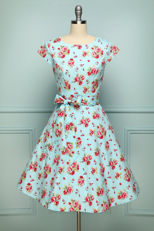 Rote Rose Drucken Grün A-Linie Vintage Pinup Swing Kleid mit