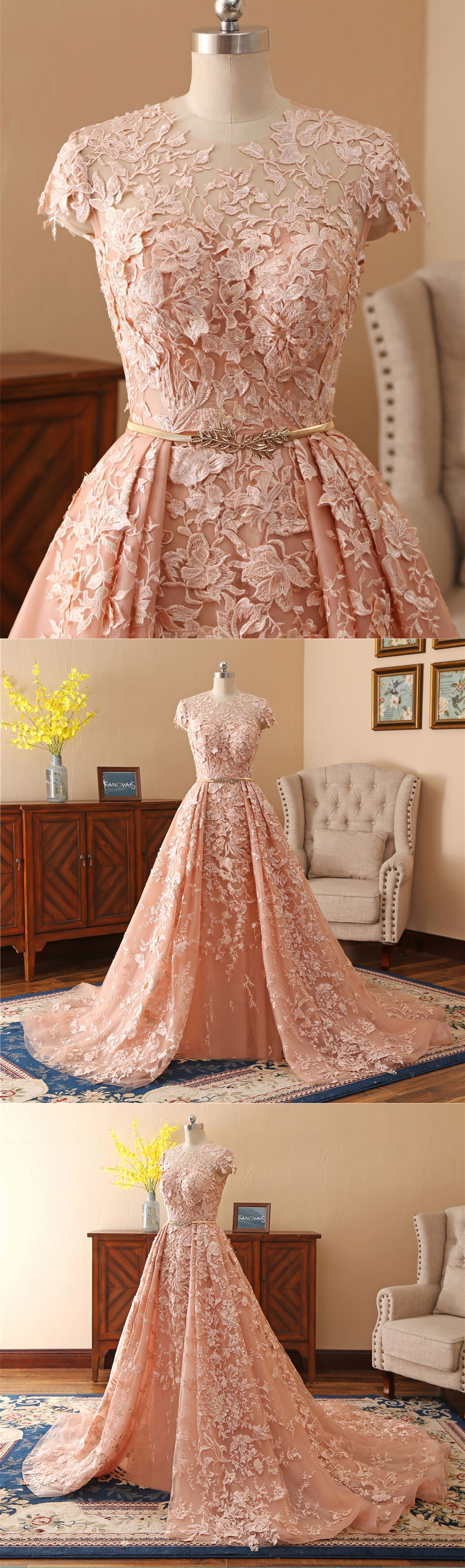 Gorgeous champagne lace cap sleeves long formal prom dress with