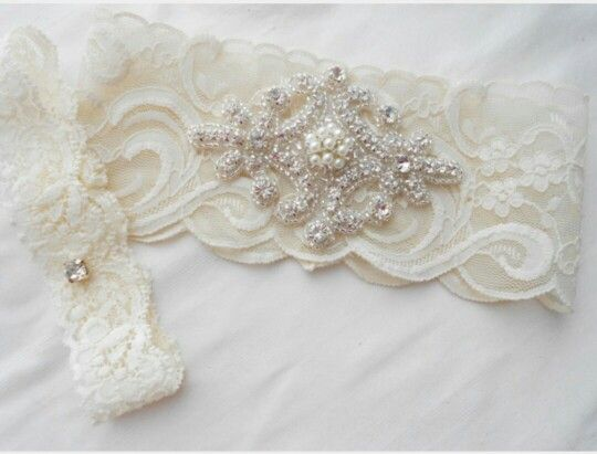 Wedding Garter Set Ivory Or Lite Stretch Lace Bridal With Classic Pearls And Rhinestones Via Etsy