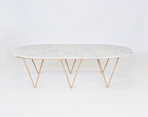 Superieur Gold Brass Marble Coffee Table Surf