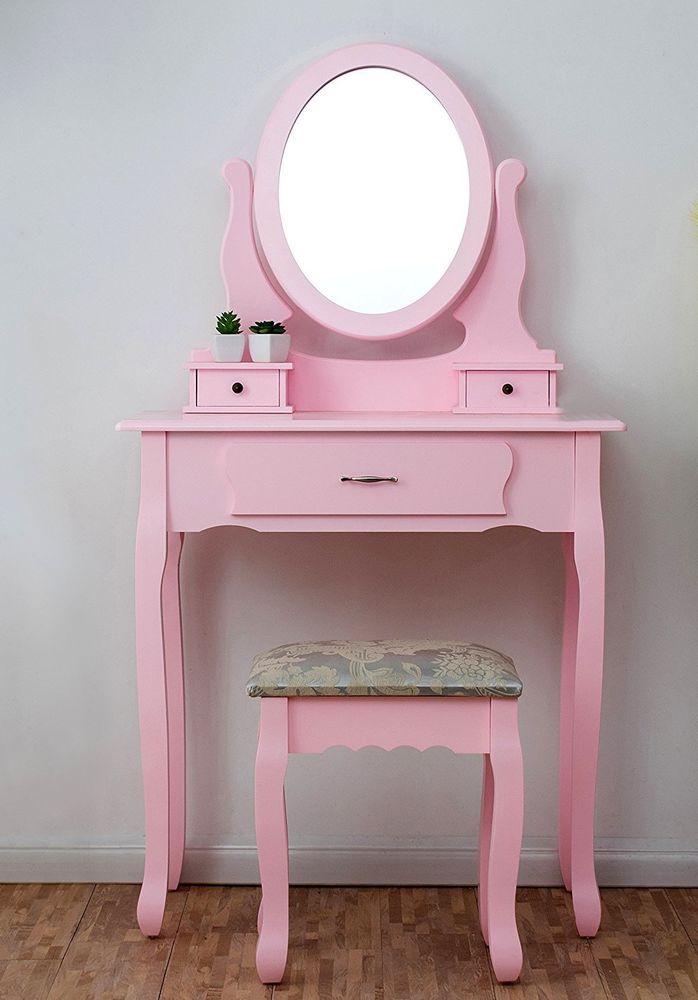 Pink Makeup Vanity Table Stool Mirror Desk Storage Drawers Bedroom ...