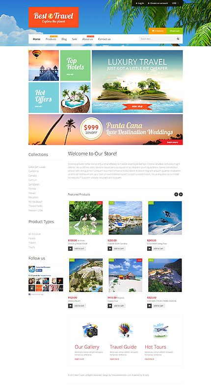 Template 52936 - Best Travel Responsive Shopify Theme | Ecommerce ...