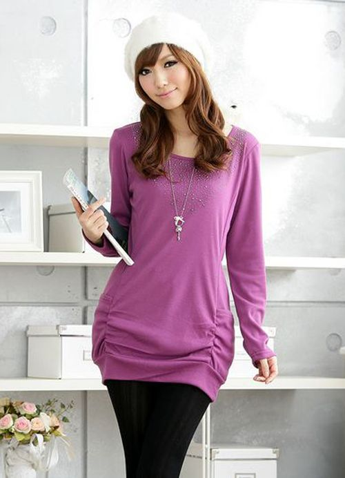 Plus Size Casual Wholesale Long Women T Shirts  Item Code:  IO9636+Purple    US$12.00