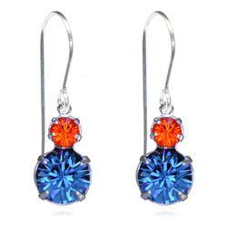 Navy & Orange Two Tier Drop Earrings - $19.80