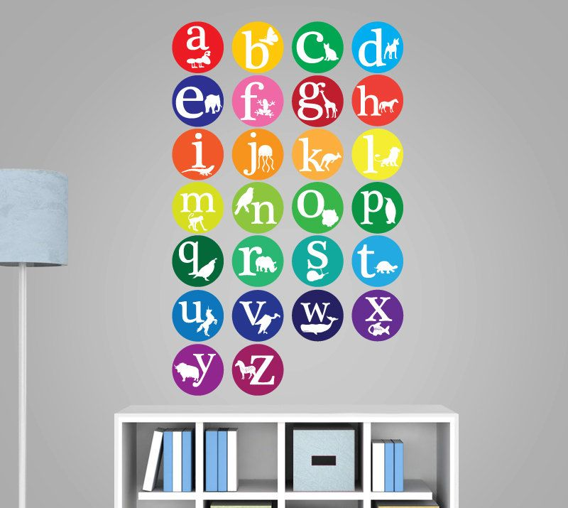 ABC Wall Decal Animal Alphabet Decal Nursery By WallDecalSource, $65.00