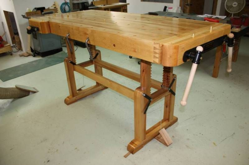 Work Bench W Height Adjustable Trestle Base With Images