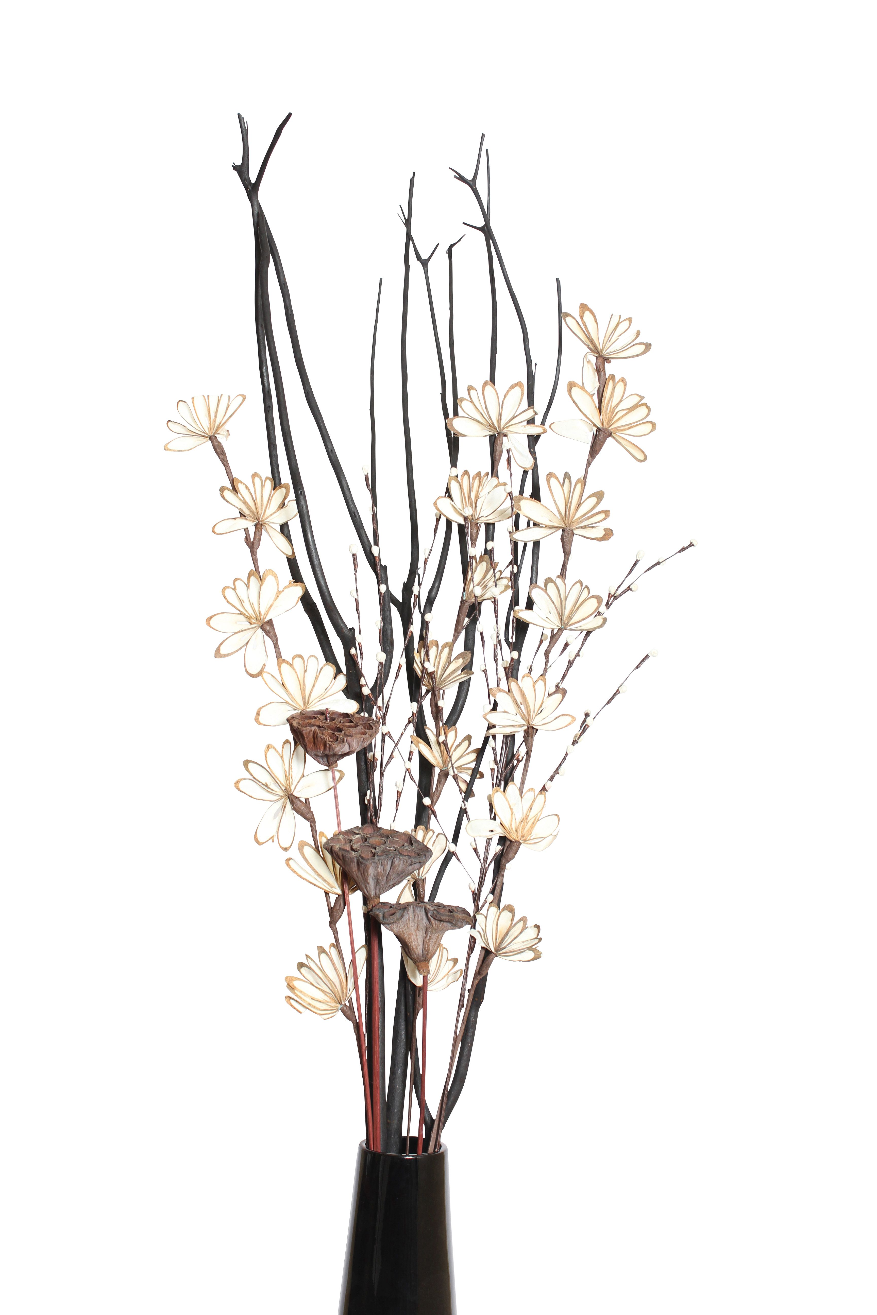 Floral Arrangement From Vyn Includes Black Mitsumata Balsa Sunburst Sola Bud Spray And Lotus Pods Visit Us At Www Vynflowers Com To Design Your Own Arrange