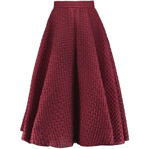 Roksanda - Colvin Matelassé Satin Midi Skirt ($574) ❤ liked on ...