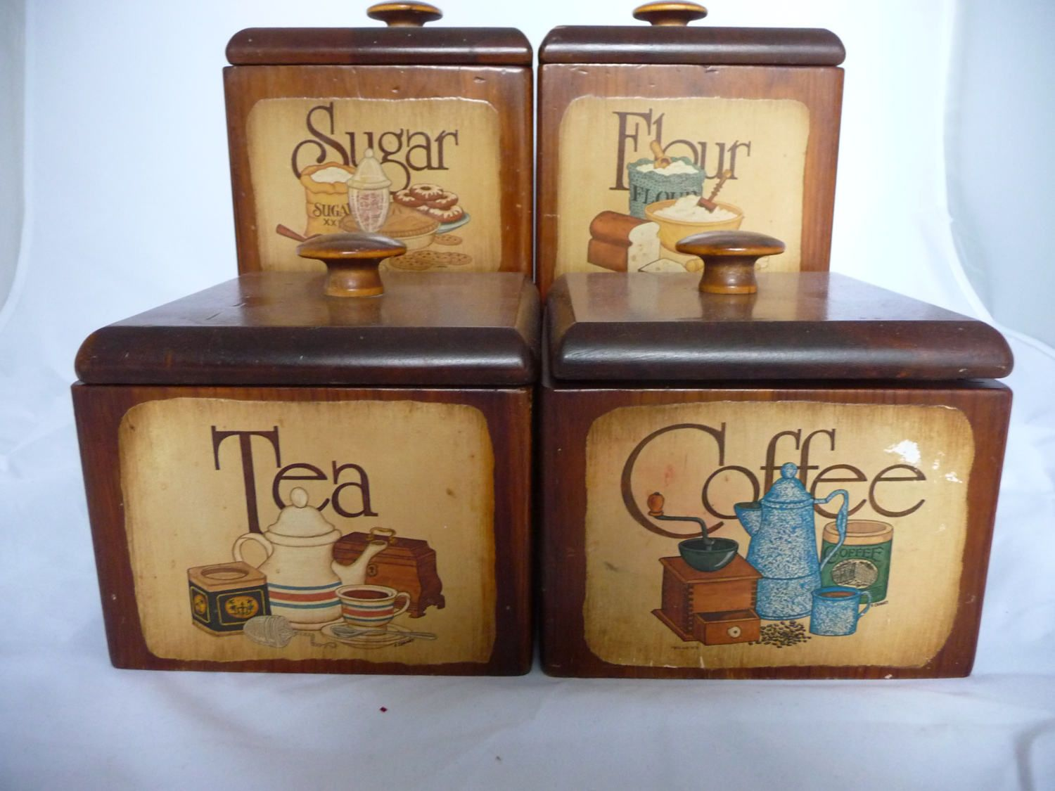 wooden canisters kitchen wooden kitchen canisters with pictures of sugar flour tea coffee by saltofmotherearth on etsy 2705