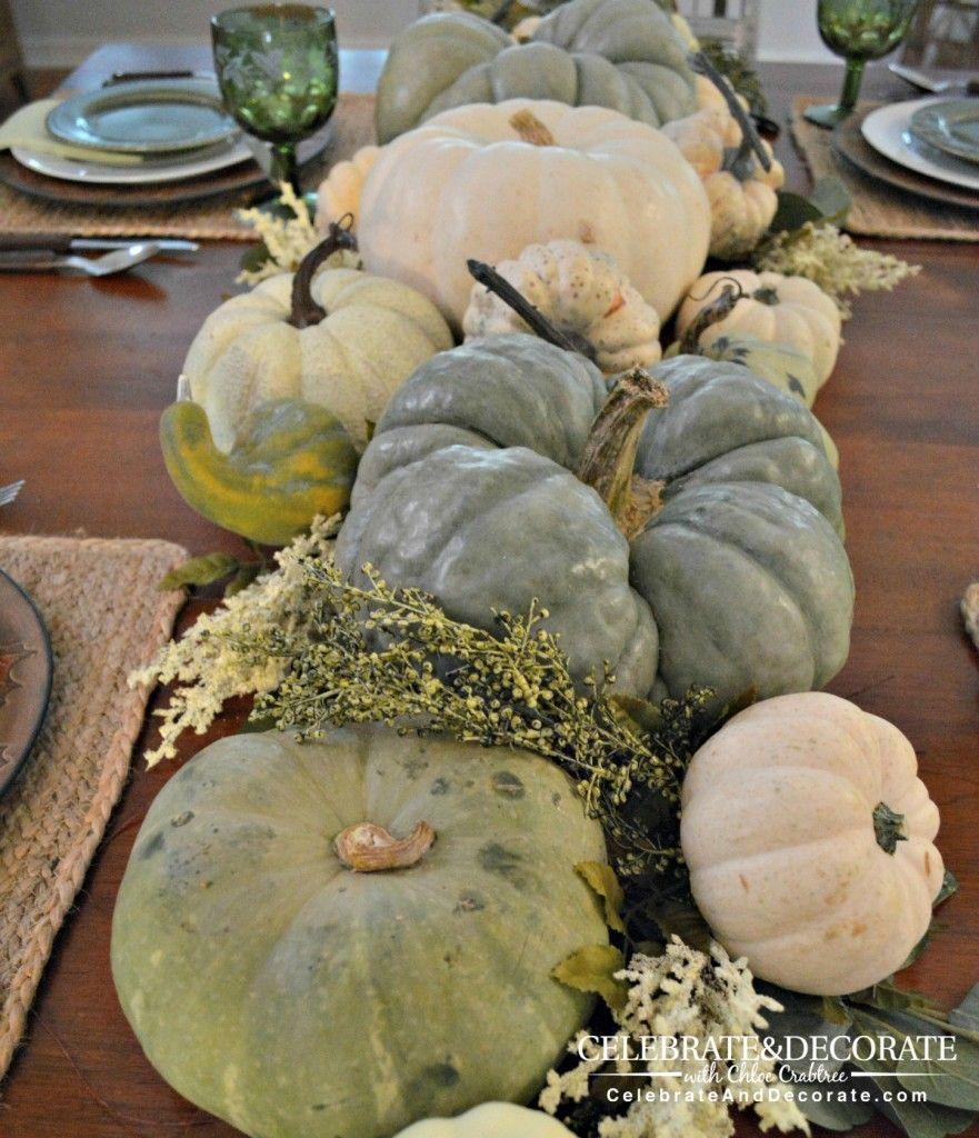 thanksgiving table in green \u0026 white autumn pinterest pumpkingreen and white pumpkin centerpiece more