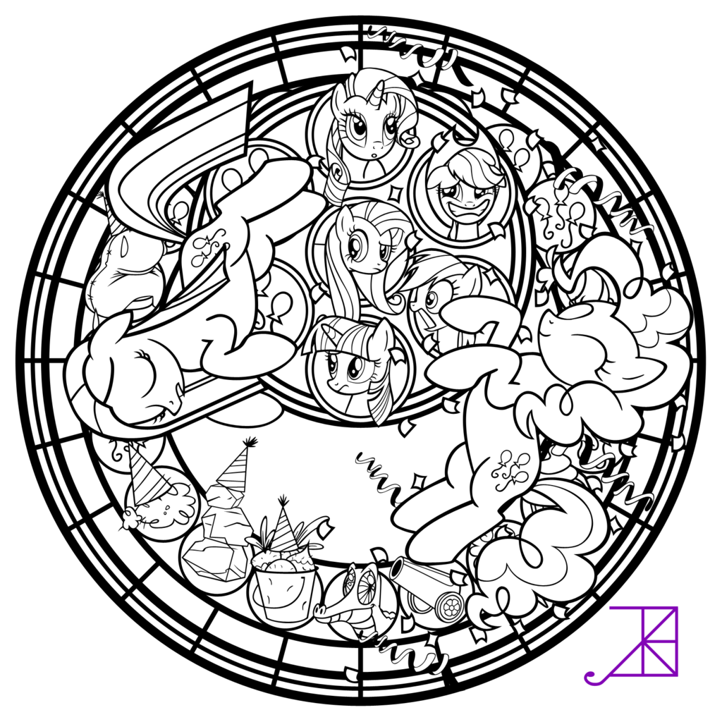 Pinkie Pinkamena Stained Glass Vector line art by Akili Amethyst