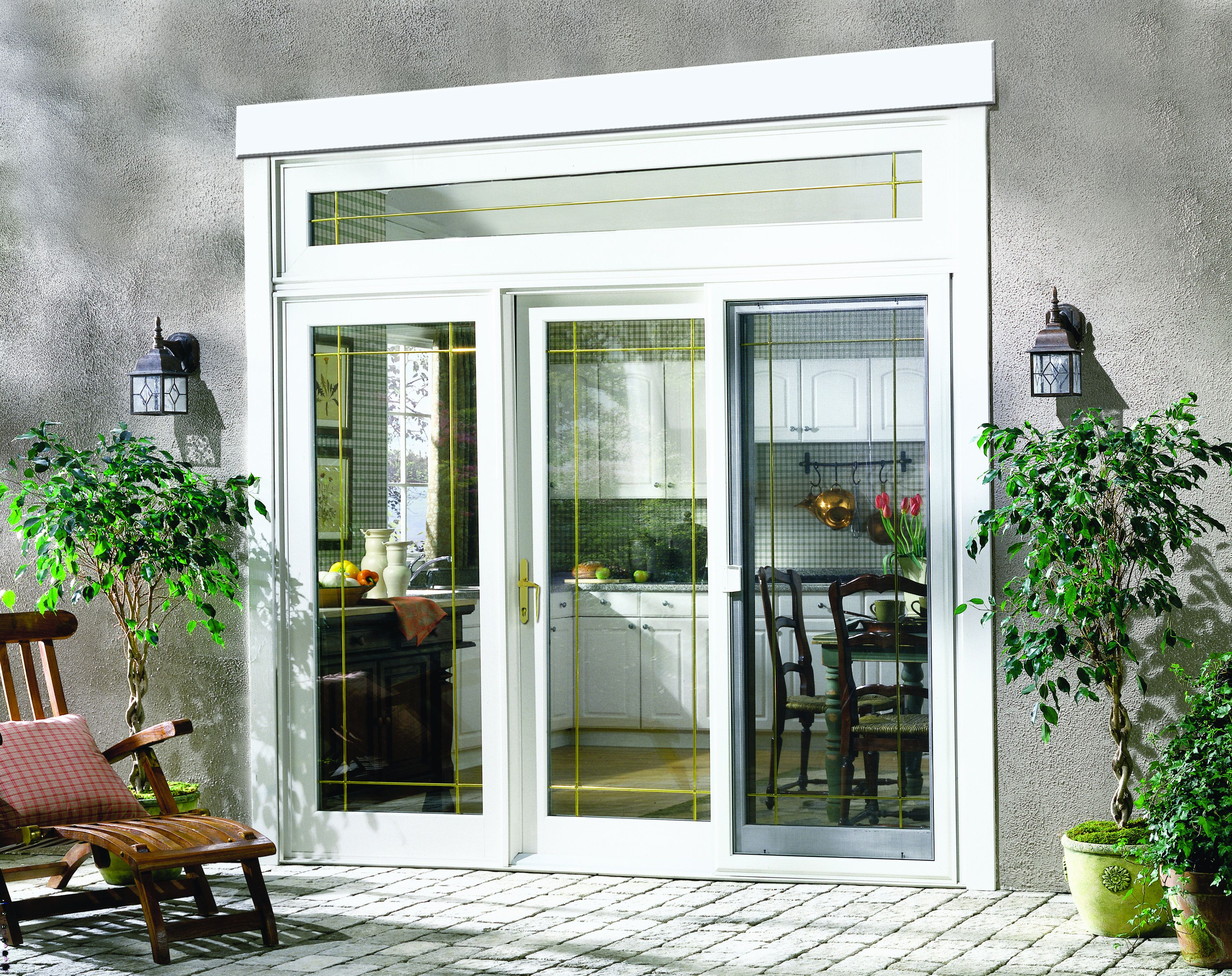 Available In Seven Sizes The Vinyl Patio Door Includes A Sculpted