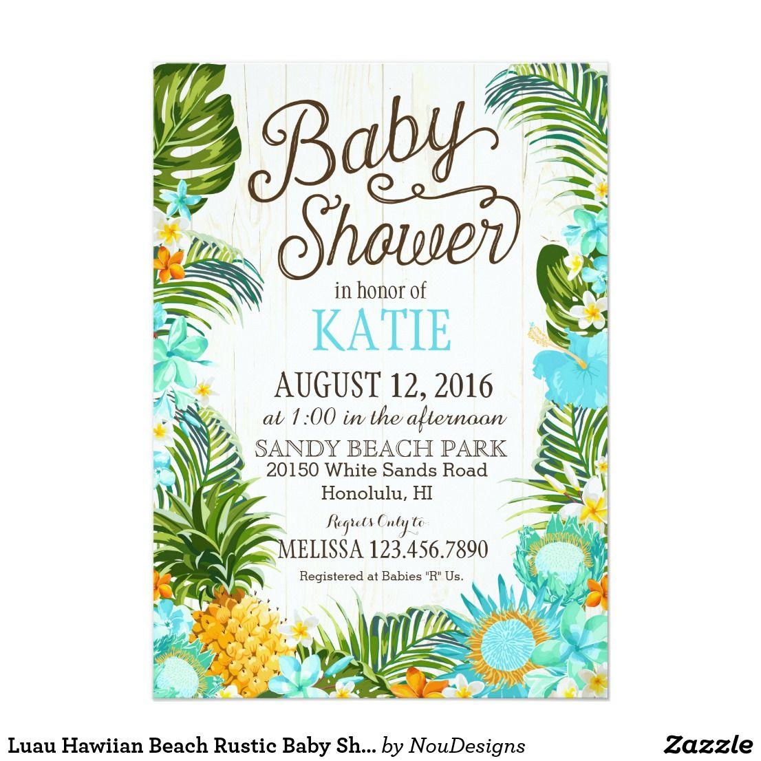 Luau Hawiian Beach Rustic Baby Shower Card | Baby Shower Gavin ...