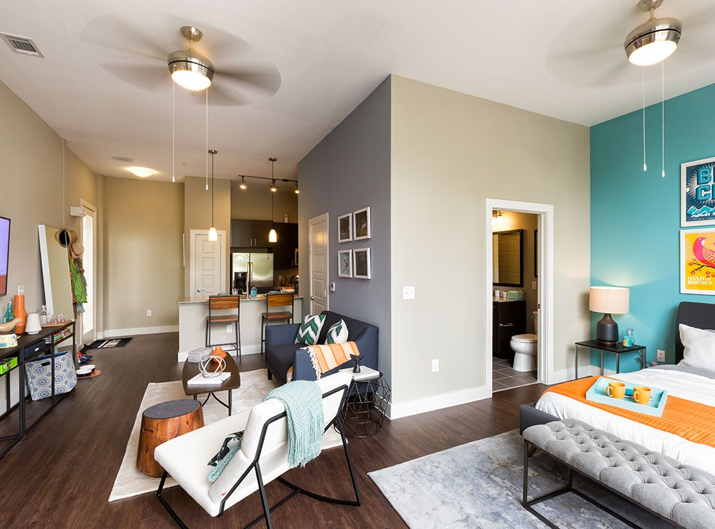 Ceiling fans in living rooms are the standard at AMLI at