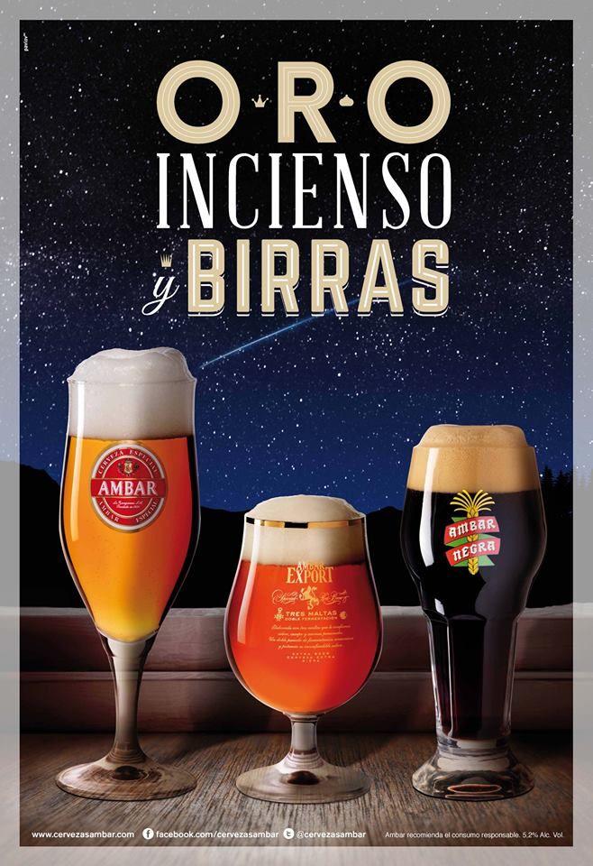 Feliz Navidad Cervezas Ambar La Zaragozana Cerveza Carteles