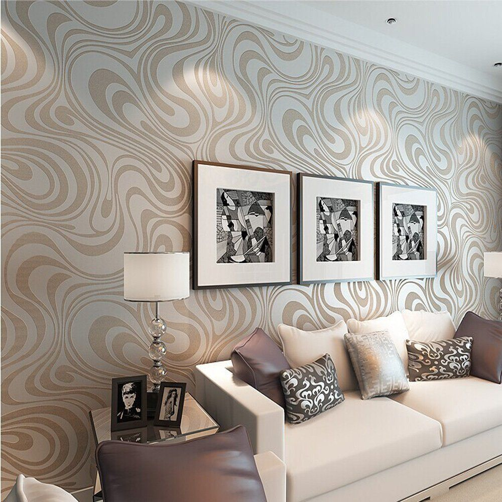 QIHANG Modern Luxury Abstract Curve 3d Wallpaper Roll Mural Papel De Parede  Flocking For Striped Cream