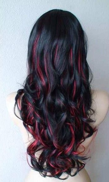 Black Curly Hair Red Highlights