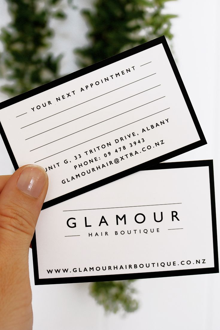 Project spotlight glamour hair boutique graphic design group business card for glamour hair boutique a salon based in albany auckland new reheart Image collections