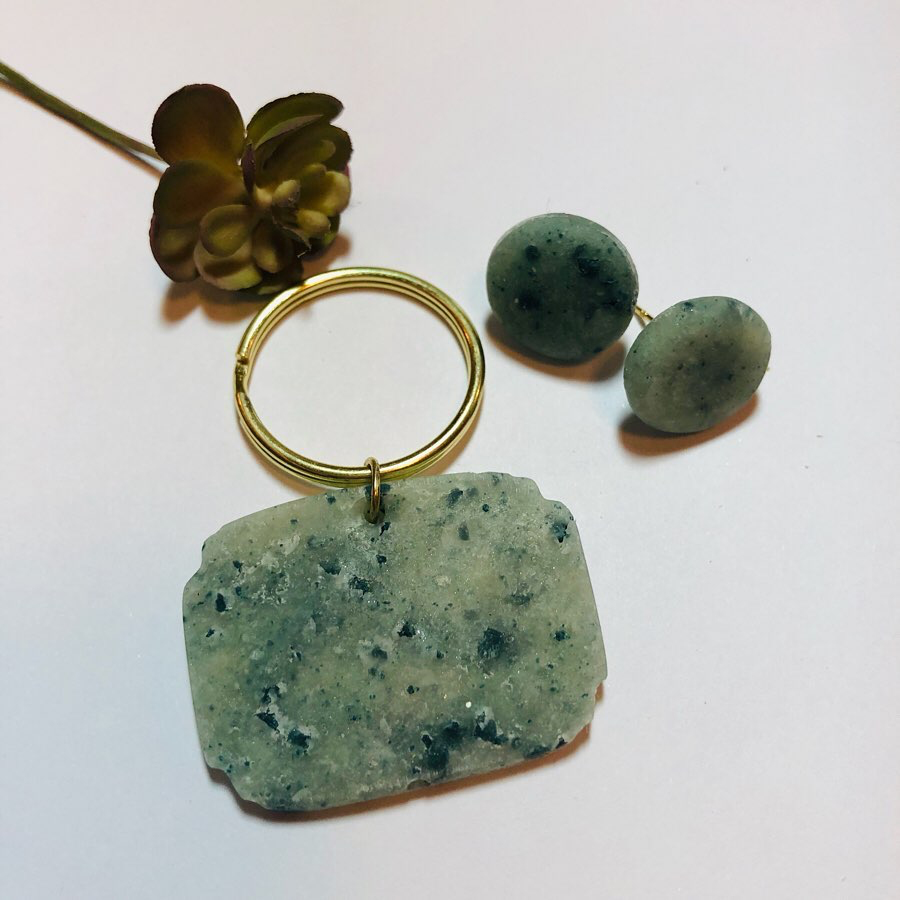 "Alessandra Schembari on Instagram: ""Green faux granite earrings and matching pet tag • #pettags #petaccessories #furbaby #cats #cats_of_instagram #dogs #dogsofinstagram…"""