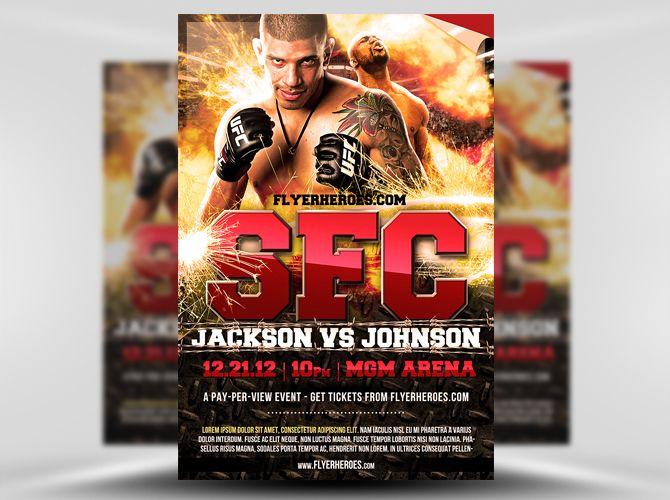 Free MMA Fight Night Flyer Template https\/\/noobworx\/store - ufc flyer template