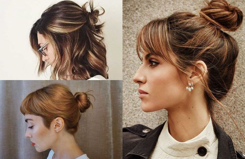 Short Hair Bun With Bangs Hairstyle How To Ideas Short Hair Bun Short Hair With Bangs Short Hair Styles Easy
