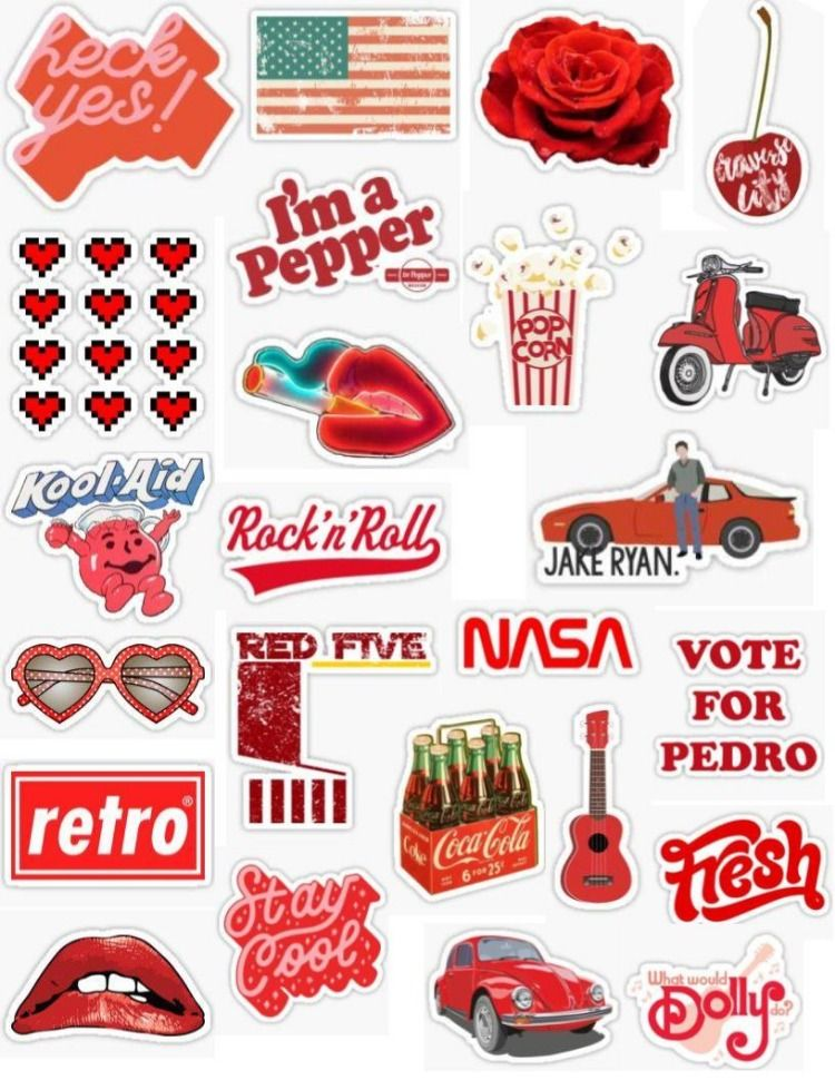 Retro Red Sticker Pack Sticker By Lauren53103 Iphone Case Stickers Aesthetic Stickers Print Stickers