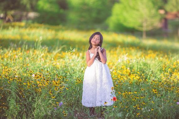 Photo of Simple Lace Flower Girl Dress Tea Length Dress White Rosette…
