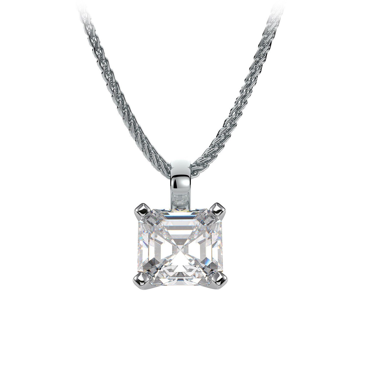 Single bale asscher diamond solitaire pendant necklace setting in