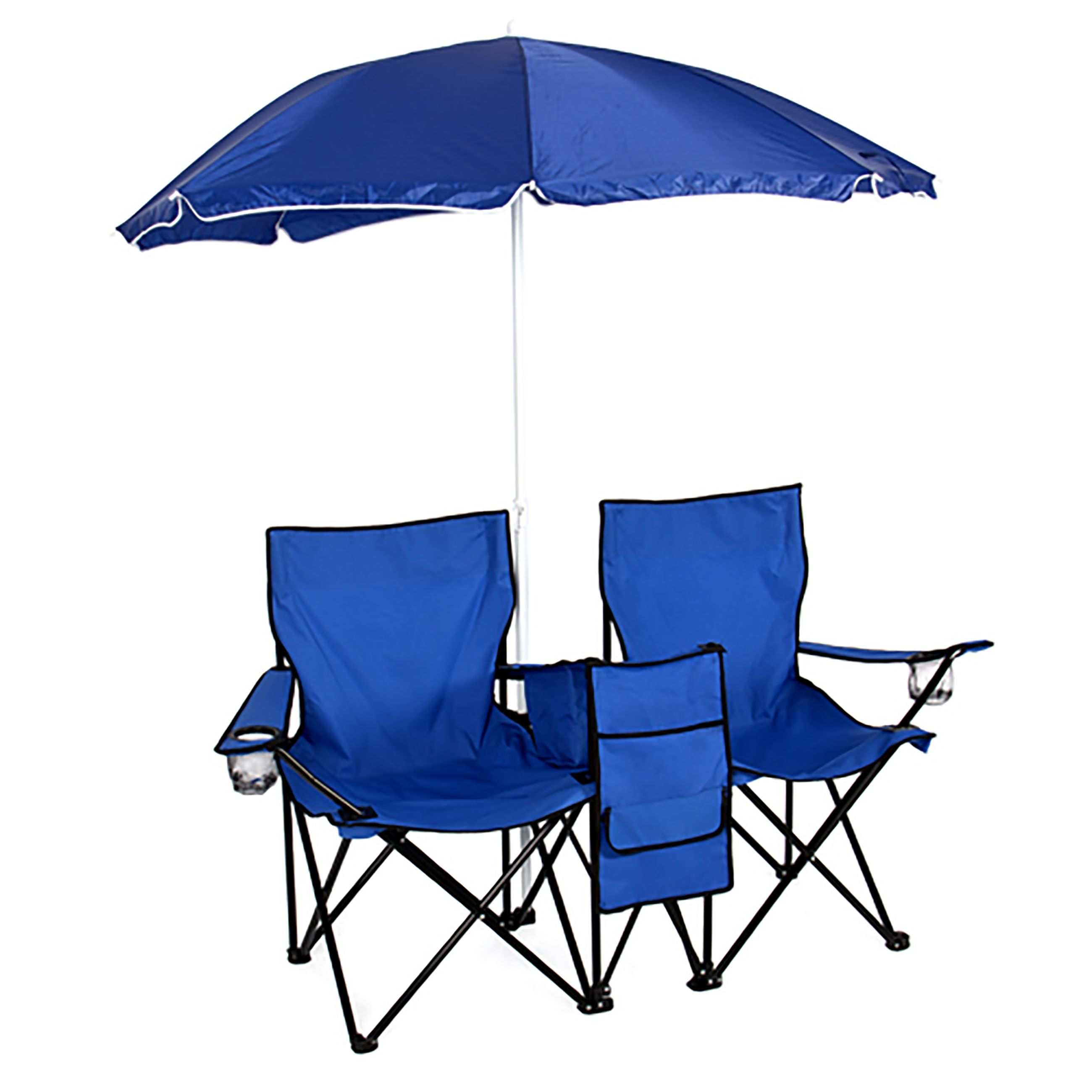 Double Folding Chair With Umbrella Camping & outdoor