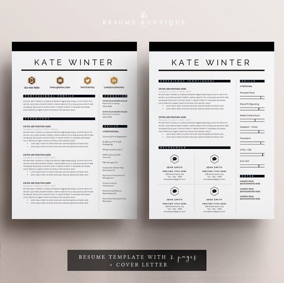 Resume Template 4 page CV Template + Cover Letter for MS Word