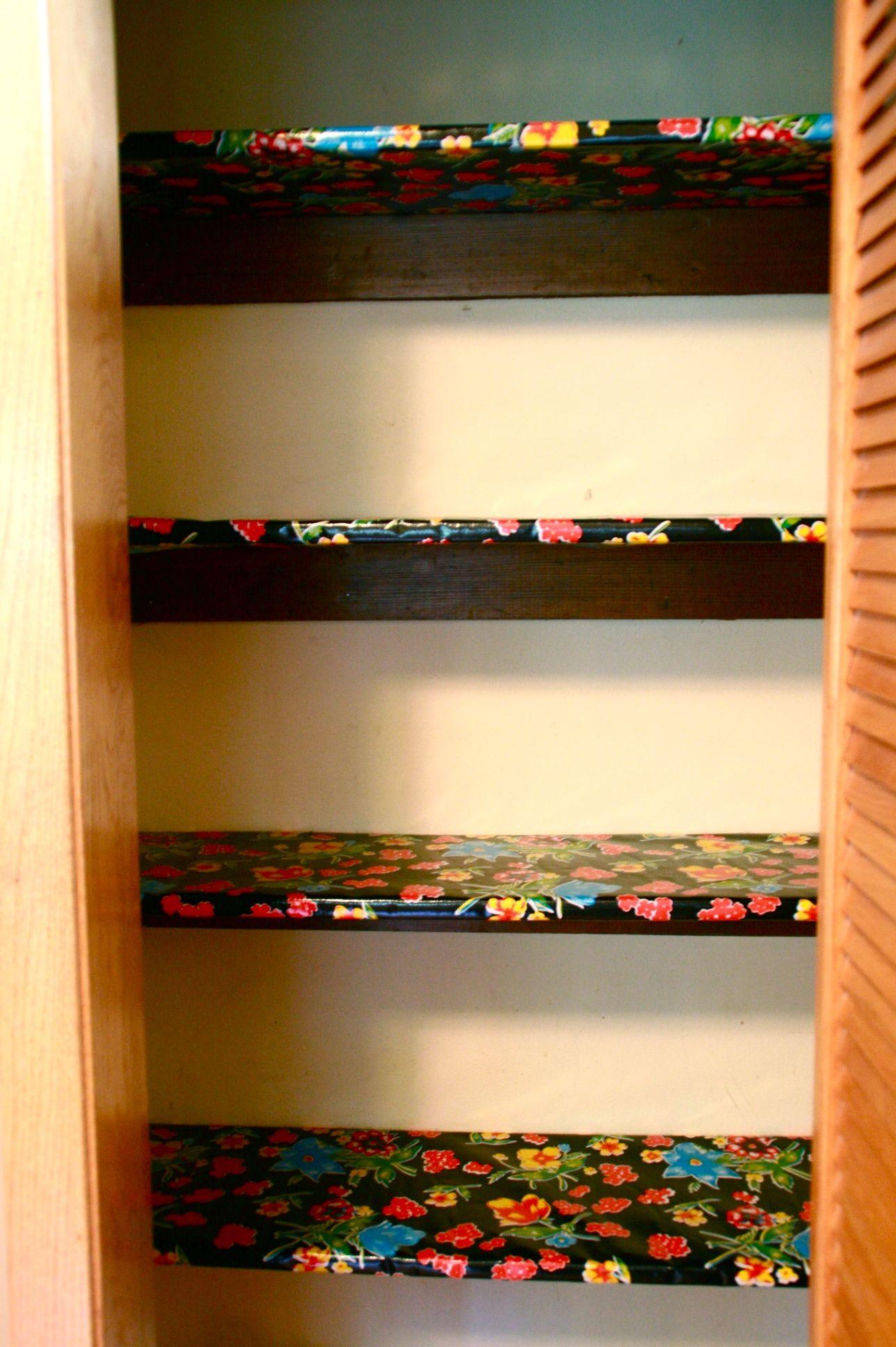 Oil Cloth As Shelf Liners Love This Shelf Liner Diy Oil Cloth Pantry Shelf Liner