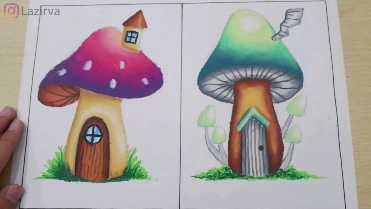 Cara Menggambar Jamur Dan Mewarnainya Dengan Greebel