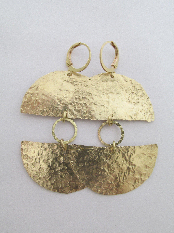 Simple earrings Geometric dangle earrings Circle drop Earrings Raw brass drop earrings Hammered brass earrings