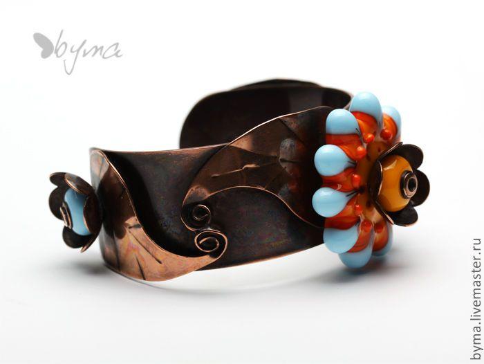 Купить Медный браслет - браслет, медь, стекло, муранское стекло, авторский лэмпворк, медь, стекло
