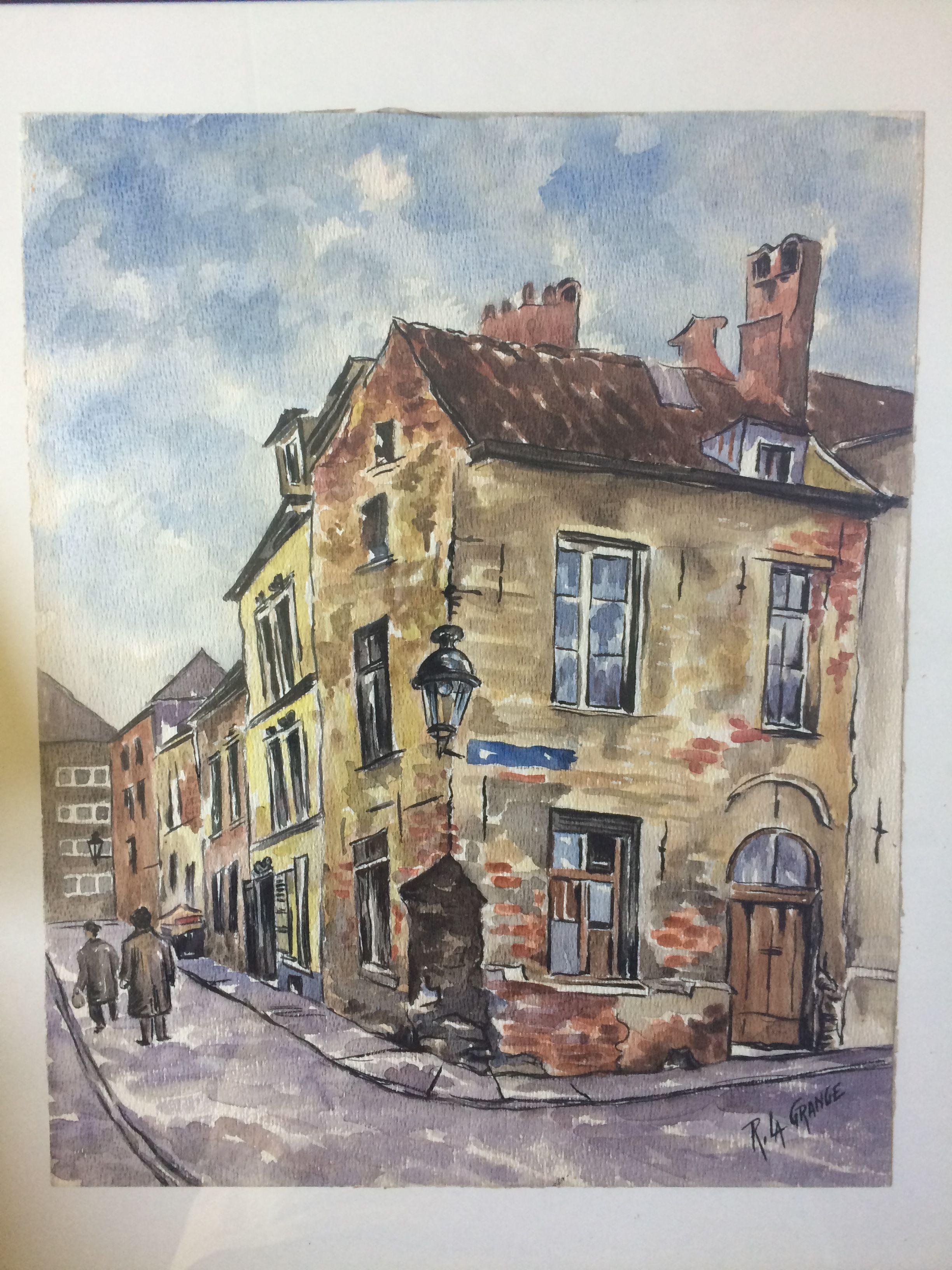 François Robert La Grange (1891-?). Rue des quatre fils @Paris Techniek: Watercolor