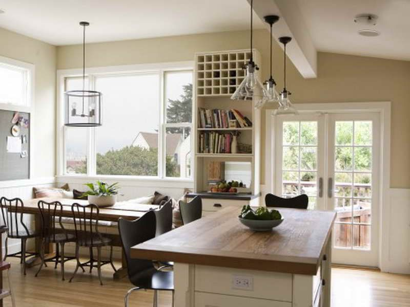 Modern Farmhouse Style Open Dining Room and Kitchen Design WHITE