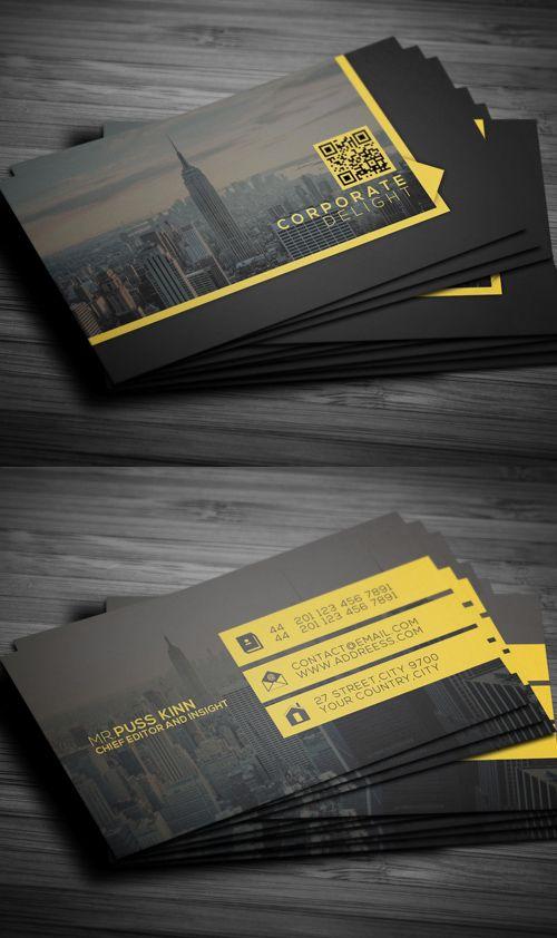 Flat Corporate Delight Business Card #businesscards #psdtemplate #printready #photoshopbusinesscards
