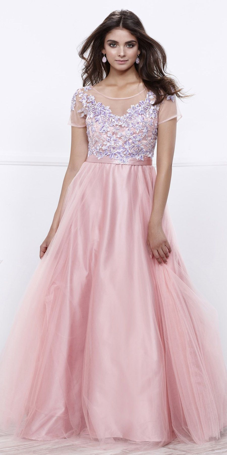 Scoop Neck Short Sleeves Embroidered Bodice Bashful Pink Ball Gown ...