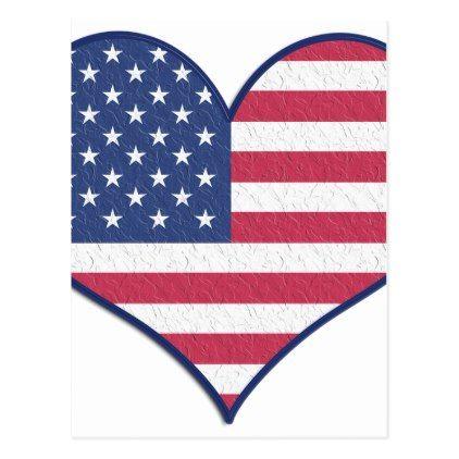 Symbol Heart Love Usa United States Flag Stars Postcard