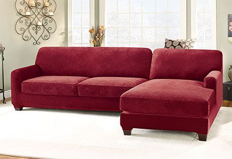 Marvelous Stretch Pique Five Piece Sectional Slipcover Right Chaise Customarchery Wood Chair Design Ideas Customarcherynet