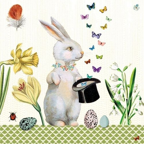 Magical Easter Bunny On This Unique Paper Napkin For Your