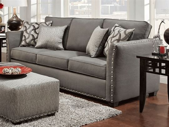 Gray sofa with nailhead trim modern contemporary gray sofa for Grey sectional sofa with nailhead trim
