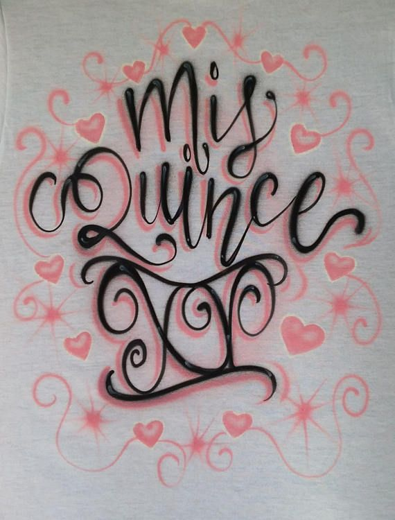 c444b4cb Airbrush Quinceanera Mis Quince Blush Pink Hearts Bounce Letters Custom  Airbrushed Girl T Shirt Hood