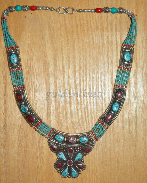 Tibetan Nepalese Handmade Turquoise coral Necklace by goldenlines