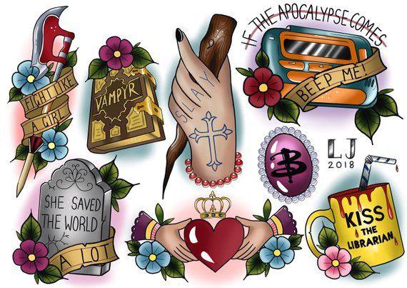 6 Sheets Wrist Body Art Henna Tattoo Stencil Flower: Buffy The Vampire Slayer Tattoo Flash Sheet! BTVS Tattoo