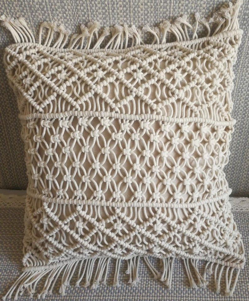 Macrame Pillow Cover Boho Cushion Cover 100 Cotton Wedding Etsy In 2020 Boho Cushions Diy Pillow Covers Diy Pillows